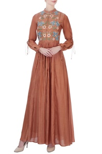 Brown embroidered maxi dress