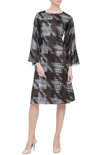 Black printed silk dress