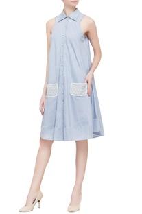 Sky blue linen shirt dress