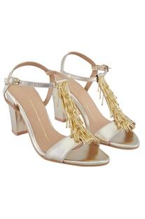 Gold t-strap 3-inch block heels