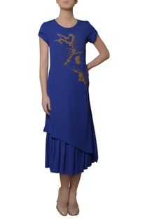 Blue embroidered midi dress