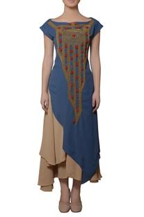 Beige & blue asymmetric dress