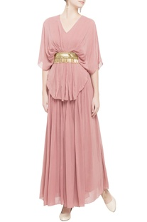 Light pink layered maxi dress