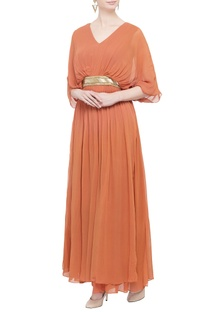 Tangerine orange pleated gown