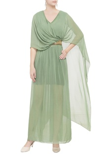 Green draped double layer gown