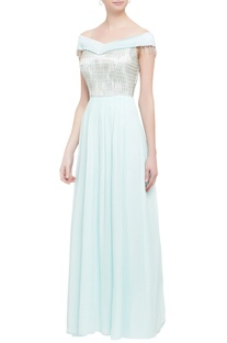 Powder blue off-shoulder gown