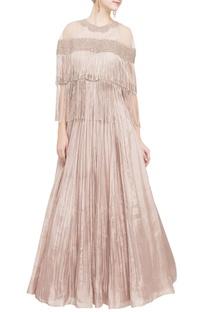 Beige gold tassel gown