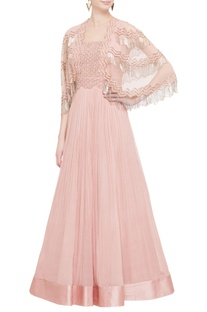 Rose pink tassel anarkali with attached cape