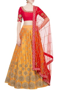 Yellow lehenga with red blouse & dupatta