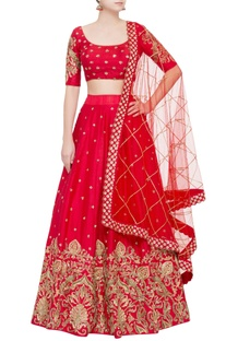 Red raw silk sequin lehenga set