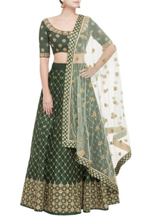 Green lehenga set with gold sequin work