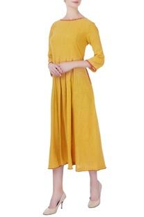 Yellow box pleated midi dress