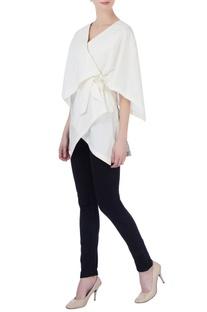 White cotton wrap blouse