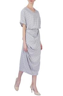 Grey micro print dress