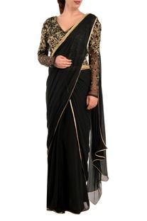 Black dabka sari & blouse
