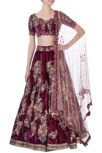 Burgundy  embellished lehenga set