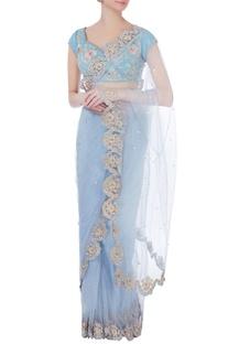 Sky blue embellished sari & wrap blouse