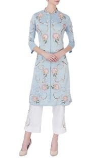 Sky blue applique embellished kurta
