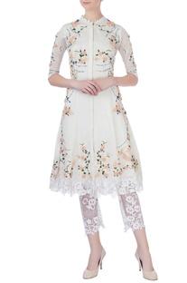 White rose motif embellished kurta set
