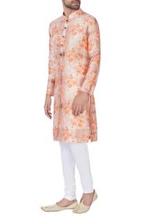 Orange raw silk kurta & churidar