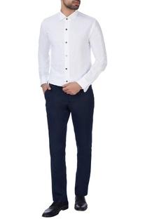 White cotton button-down shirt
