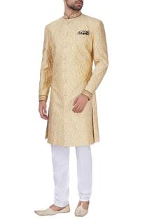 Gold silk brocade sherwani
