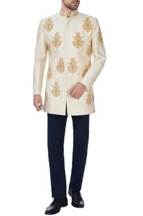 Beige embroidered brocade jacket