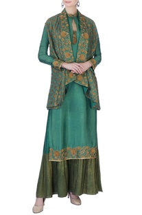 Green zardozi jacket kurta set