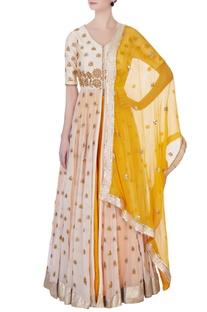 Yellow embroidered kurta lehenga set