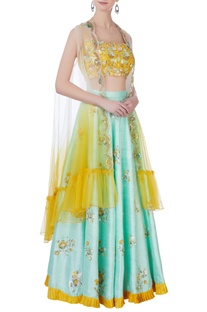 Blue and yellow embroidered lehenga set