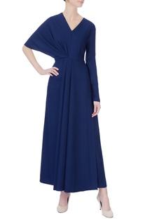 Navy blue draped maxi dress
