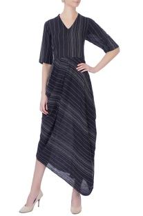 Black thread embroidered dress