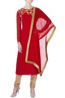 Red machine embroidered kurta