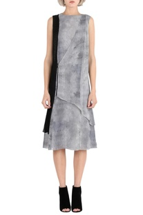 Grey printed overlap dress