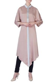 Beige & grey silk asymmetric kurta