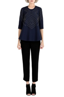 Ink blue embroidered top