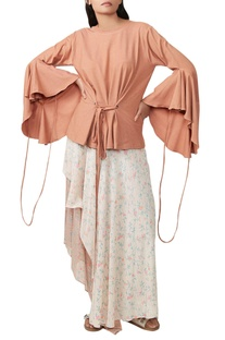 Brown flared top & asymmetric skirt