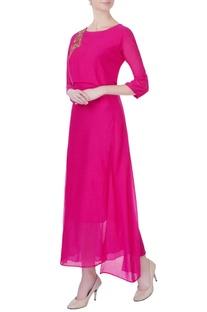 Hot pink zardozi embroidered kurta