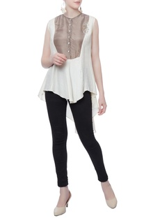 White asymmteric bias top