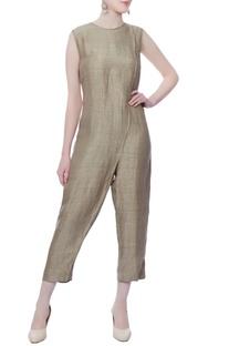 Grey stitched line jumpsuit