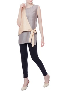 Silver& pink tie up tunic