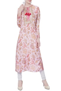 Pink floral printed kurta with red tassel accents