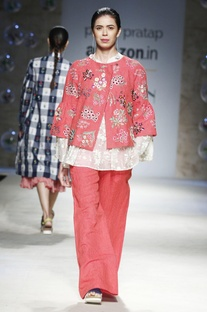 Red floral embroidered jacket