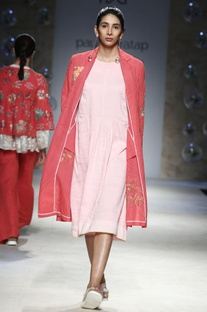 Pink embroidered long jacket