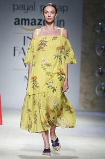 Yellow cold shoulder midi dress