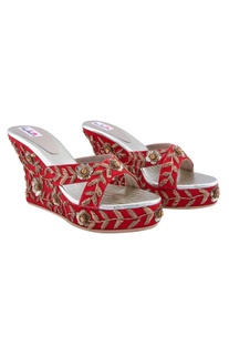 Red kundan wedge heels