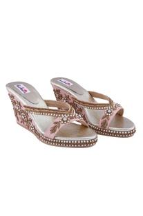 Pink pearl floral motif wedges