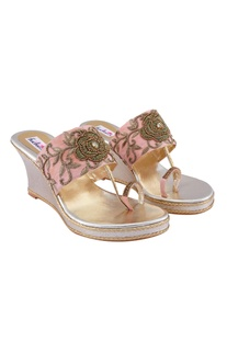 Pink embellished bridal wedges