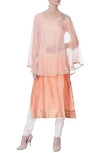 Peach embroidered straight kurta set