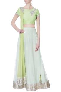 Mint green kasab embroidered lehenga set